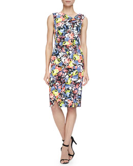 Erdem Mariko Floral-Print Cowl-Neck Draped Dress