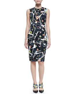 Erdem Nell Sleeveless Floral Collage-Print Dress
