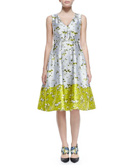 Erdem Fit-and-Flare Belted Floral Dress