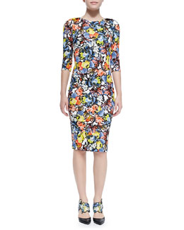 Erdem Wilhemina 3/4-Sleeve Floral Sheath Dress