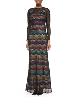 Missoni Long-Sleeve Zigzag Maxi Dress W/ Lace Overlay