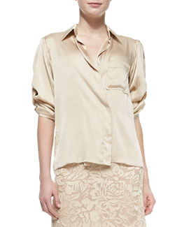 Donna Karan Rolled-Sleeve Sateen Shirt