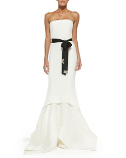 Donna Karan Strapless Belted Mermaid Gown