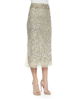Donna Karan Embroidered Midi Skirt, Parchment/Platinum