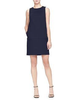 Armani Collezioni Sleeveless Shift Dress with Pockets, Hyacinth