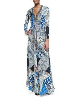 Etro Patchwork-Print Silk V-Neck Gown
