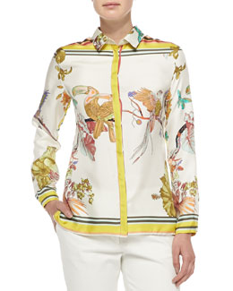 Etro Long-Sleeve Silk Toucan-Print Blouse