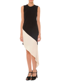 Marni Sleeveless Asymmetric Colorblock Dress