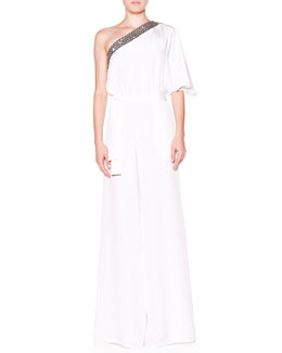 Emilio Pucci One-Shoulder Jumpsuit with Beaded Trim