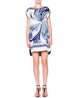 Emilio Pucci Cap-Sleeve Shift Dress, White/Cobalt