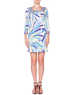Emilio Pucci 3/4-Sleeve Dress W/ Square Border Trim