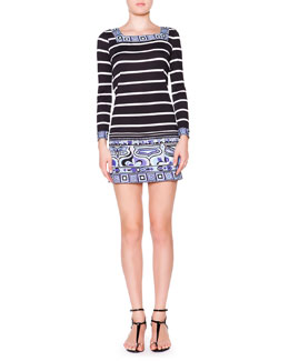 Emilio Pucci Long-Sleeve Striped Square-Border Dress