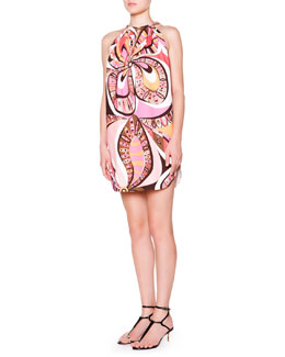 Emilio Pucci Chain Halter-Neck Trapeze Dress