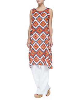 Tribal-Print Tunic Dress W/ Side Pleats