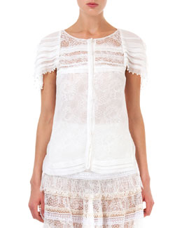 Nina Ricci Lace Top with Pearly Trim, Natural