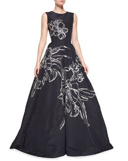 Oscar de la Renta Sleeveless Floral-Embroidered Gown, Navy