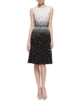 Oscar de la Renta Sleeveless Dotted Dress, Ivory/Black