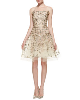 Oscar de la Renta Gold Sequin Embroidered Flare Dress