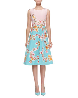 Oscar de la Renta Sleeveless Two-Tone Floral Dress, Peony/Aquamarine