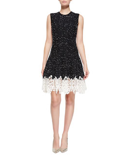 Oscar de la Renta Sleeveless Dotted Lace-Bottom Dress