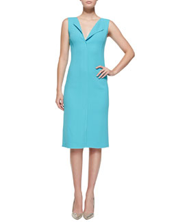 Oscar de la Renta Sleeveless Fold-Collar Sheath Dress