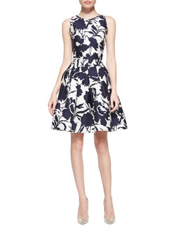 Oscar de la Renta Sleeveless Floral Fit-and-Flare Dress