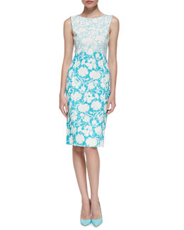 Oscar de la Renta Sleeveless Two-Tone Floral Sheath Dress