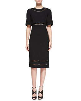 Oscar de la Renta Short-Sleeve Midi Dress, Black