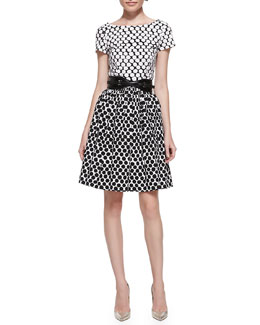 Oscar de la Renta Short-Sleeve Polka-Dot Contrast Dress