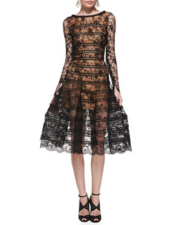 Oscar de la Renta Long-Sleeve Lace Overlay Midi Dress