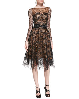 Oscar de la Renta Long-Sleeve Lace Overlay Dress