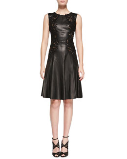 Oscar de la Renta Sleeveless Leather Dress with Cutouts, Black