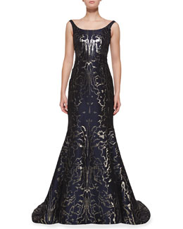 Oscar de la Renta Sleeveless Moire Metallic Mermaid Gown