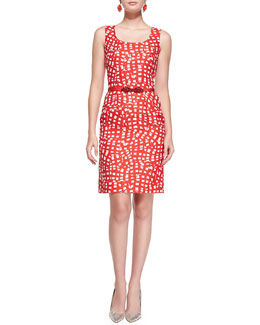 Oscar de la Renta Square-Print Sheath Dress