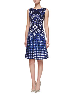 Oscar de la Renta Sleeveless Ikat & Check Dress