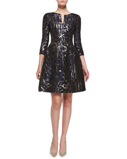 Oscar de la Renta 3/4-Sleeve Marble-Print Cocktail Dress
