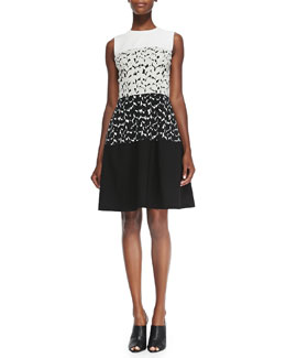 Narciso Rodriguez Sleeveless Dress W/ Solid Top & Bottom