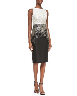 Carolina Herrera Mikado Two-Tone Beaded Cocktail Dress, Ivory/Black