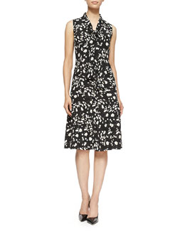 Carolina Herrera Daisy Floral-Print Twill Tie-Neck Dress