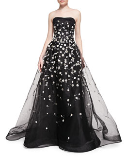 Carolina Herrera Strapless Ball Gown W/ Embroidered Daisies