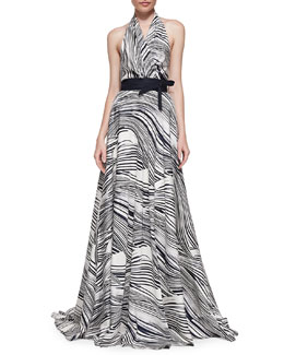 Carolina Herrera Wave-Striped Halter Gown