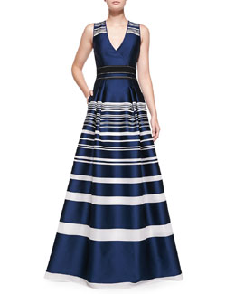 Carolina Herrera Striped Jacquard Gown, Navy/White