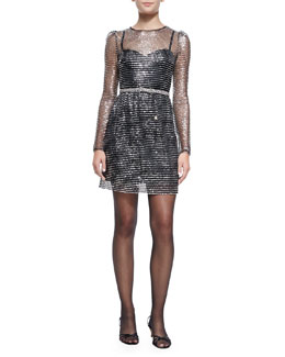 Marc Jacobs Long-Sleeve Dress W/ Rhinestone Bow Belt