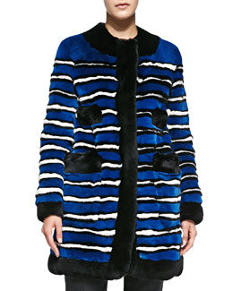 Marc Jacobs Striped Rabbit Fur Coat with Pockets