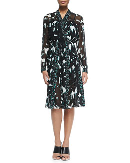 Proenza Schouler Long-Sleeve Printed Dress W/ Pleated Skirt