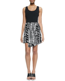 Proenza Schouler Sleeveless Dress W/ Asymmetric Print Skirt