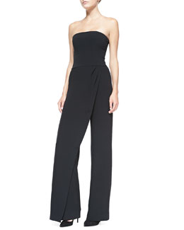 Ralph Lauren Black Label Caralyn Strapless Draped-Leg Jumpsuit
