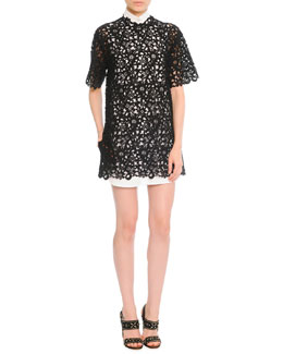 Valentino Short-Sleeve Guipure Lace Tunic/Dress, Black