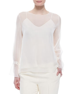 THE ROW Chiffon Tabbed Blouse w/ Camisole