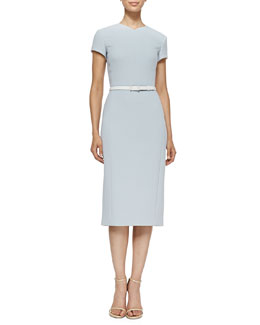 Jason Wu Short-Sleeve Belted Crepe Dress